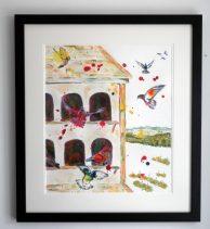 pigeon loft, flying birds, funky birds, paitning commission