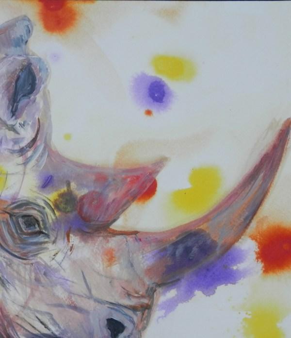purple rhino painting, rhino image, abstract rhino, purple blac rhino print