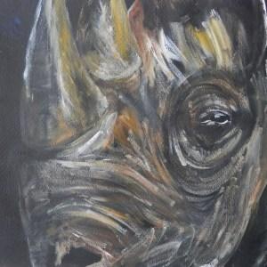 black rhino art, rhino painting, rhino energin from darkness