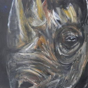 black rhino art, rhino painting, rhino energin from darkness