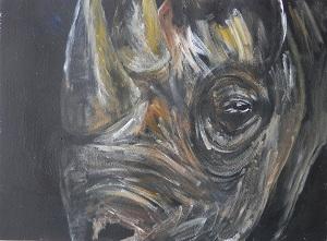 black and yellow rhino art, black and yellow wildlife art