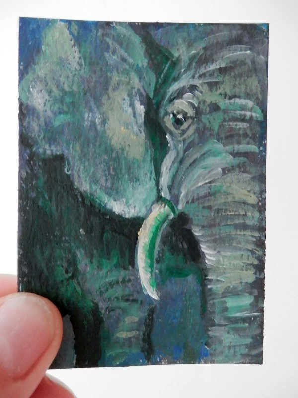 green elephant ACEO, green elephant artist trading card, green elephant art gift