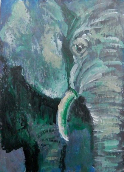 small green elephant, elephant ACEO, green elephant art gift