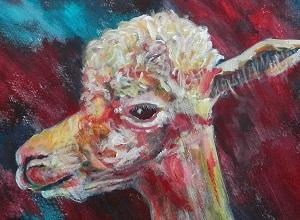 red alpaca art, llama painting, smiling alpaca