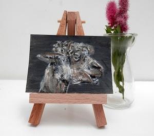 alpaca painting, alpaca ACEO, alpaca art, llama gift teeth brown alpaca ACEO print