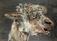 teeth, alpaca art, alpaca painting, brown alpaca ACEO print, llama art