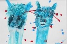 turquoise painting, alpaca art, llama gift