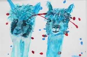 turquoise painting, alpaca art, llama gift, teal alpaca painting