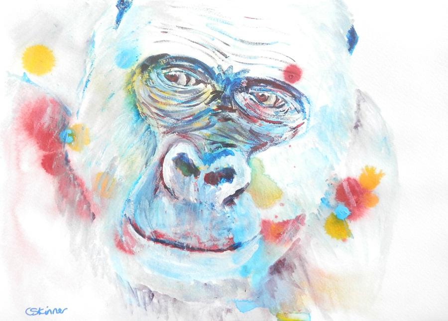 gorilla painting, blue gorilla art, gorilla portrait