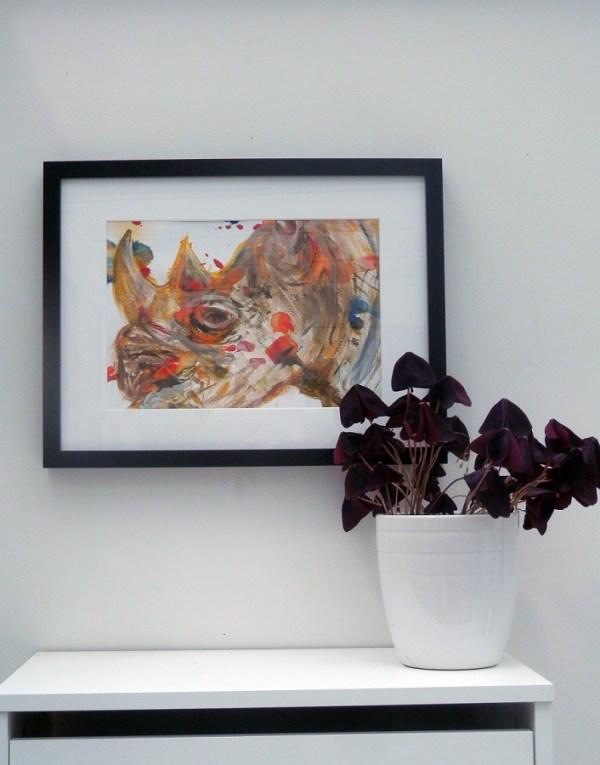 framed rhino painting, rhino art, black rhino wall art, rhino gift