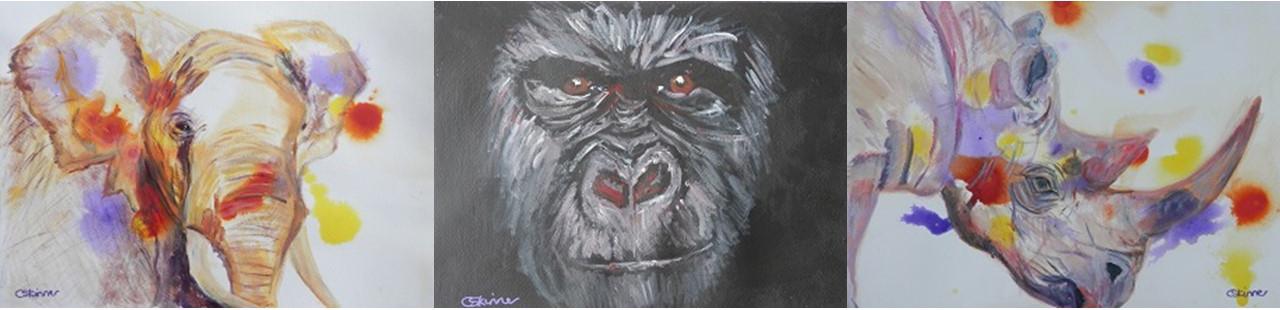 African elephant painting, gorilla art, black rhino decor