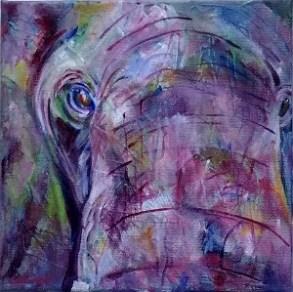 purple elephant painting, square elephant painting, framed elephant art