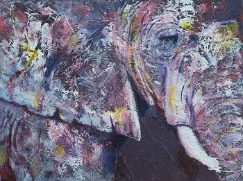 purple elephant print, profile of an elephant, elephant artwork, African wildlife, purple elephant home decor