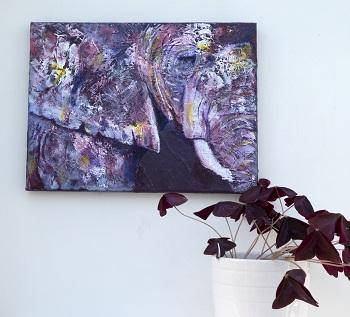 purple elephant profile painting, purple elephant home decor, purple elephant print
