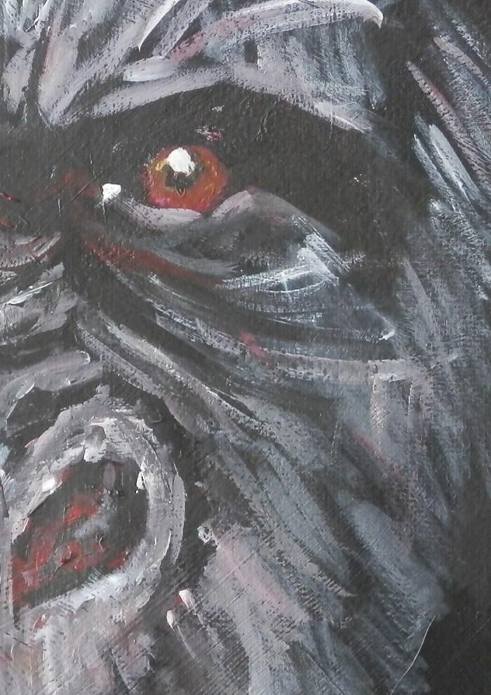 gorilla painting, ape gift, gorilla art, red eyes, gorilla art print