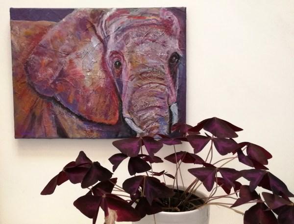 ultra violet elephant art, pink elephant print, safdari animal art