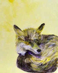 Fox painting, British Wildlife art, yellow animal decor, yellow fox painting