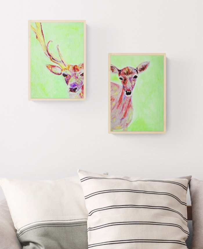 Modern green and red paintings on box canvas