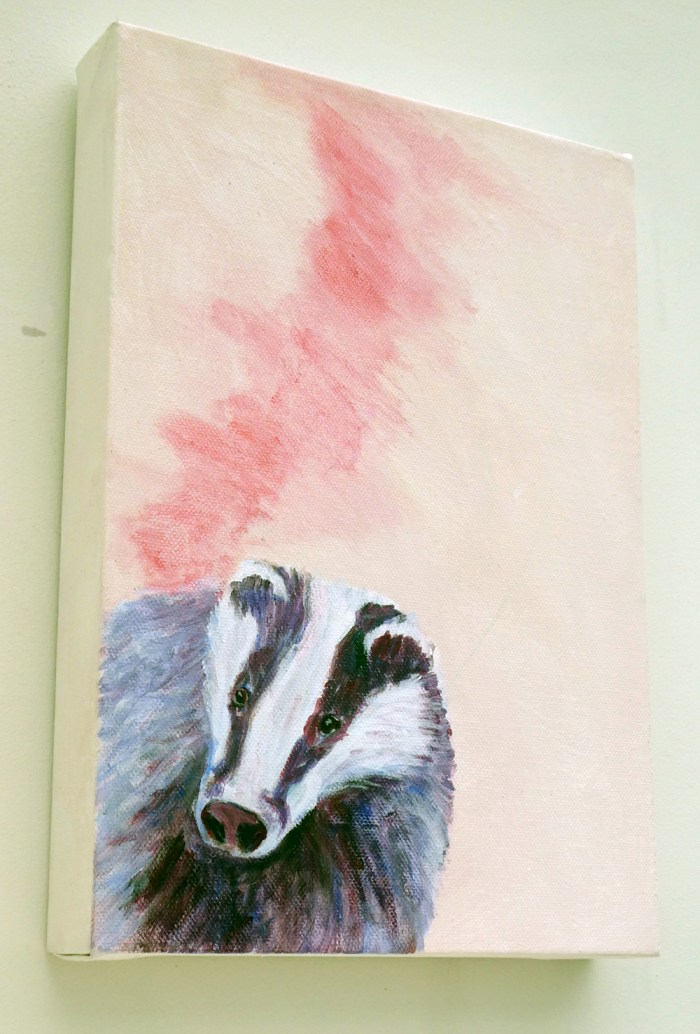 Pink and purple acrylic badger painting, British wildlife art