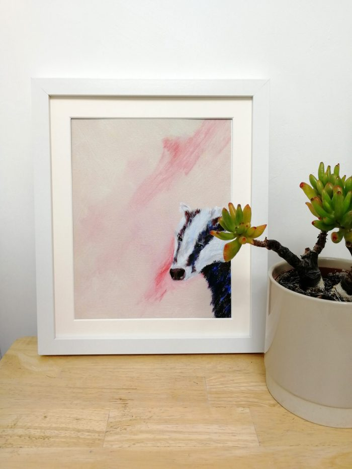 Pink badger art print