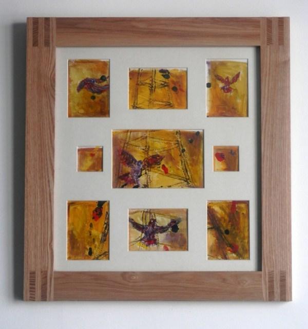 Golden yellow birds painting, acrylic Crystal Palace art, framed orange bird painting, abstract London art