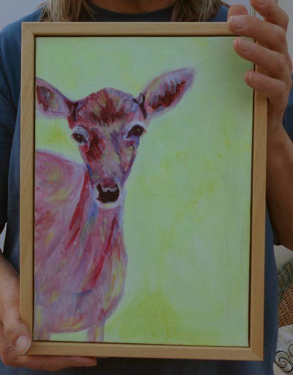 Red doe framed painting