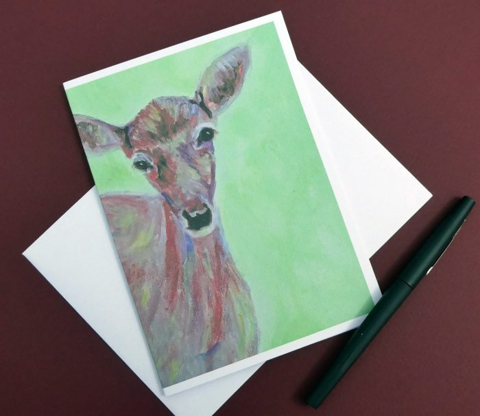 doe card, red and green blank animal card, deer greeting card
