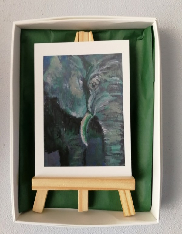 Elephant-green-ACEO-2, green elephant aceo gift, green aceo, animal art, miniature elephant art