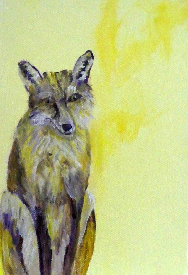 Urban fox art, resting fox painting, yellow British wildlife art