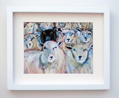 Flock of sheep art print, black sheep, farm animal art, farmyard print, black sheep of the family, counting sheep