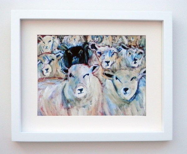 Flock of sheep art print, black sheep, farm animal art, farmyard print, black sheep of the family, counting sheep