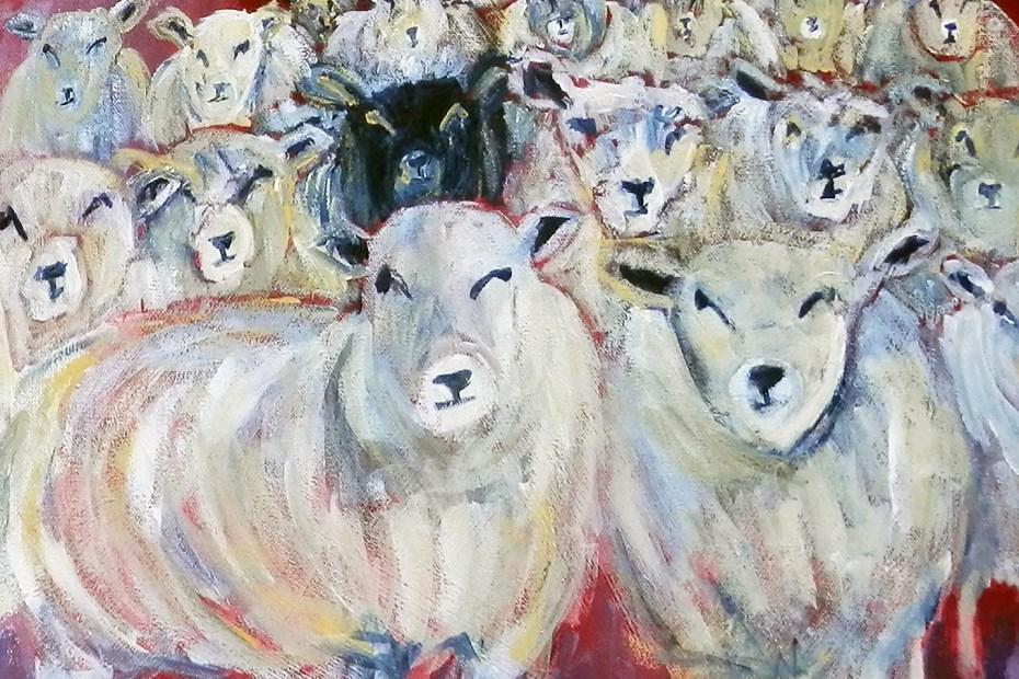 Flock of sheep art print, sheep art, black sheep, sheep print