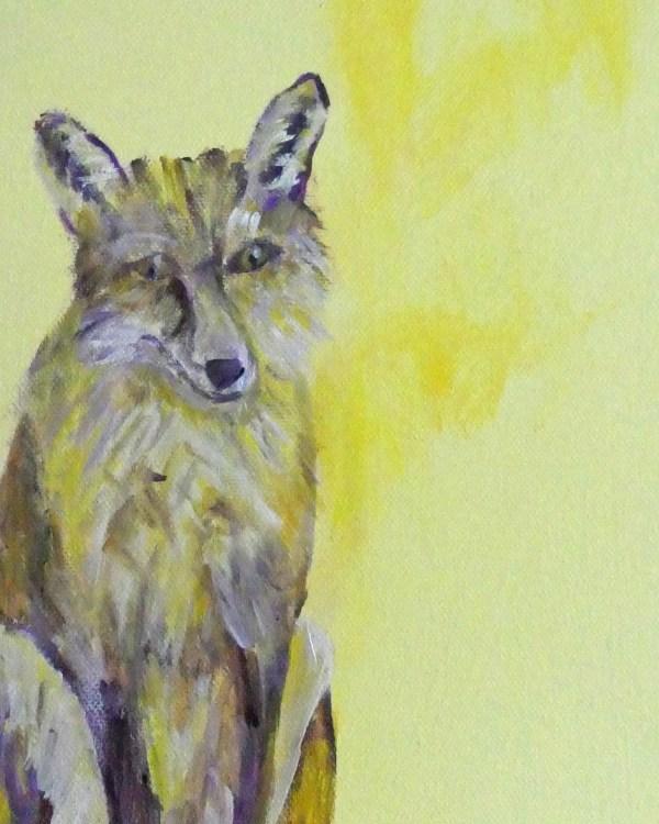 Yellow fox print, fox art, yellow fox decor