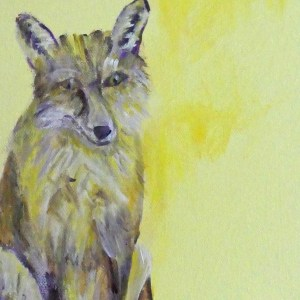 Yellow fox print, fox art, yellow fox decor