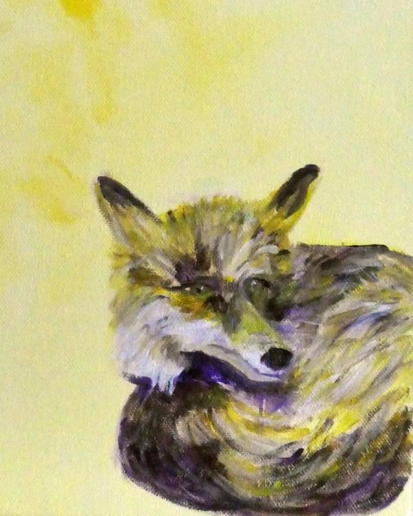 yellow fox print, fox art, British wildlife, yellow interior design, yellow home decor, sitting fox art