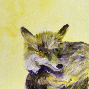 yellow fox print, fox art, British wildlife, yellow interior design, yellow home decor, sitting fox art