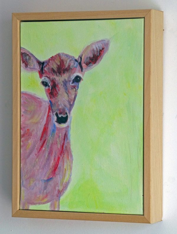 Red Deer painting with green background