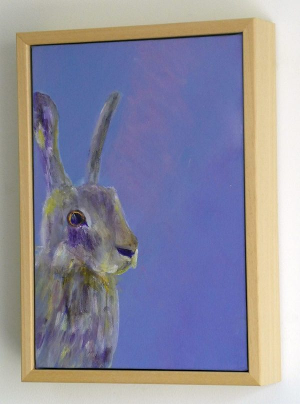Framed purple hare painting