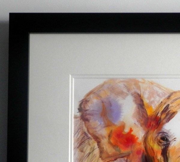 African elephant painting detail. elephant art, double mounted acrylic elephant paintingnt