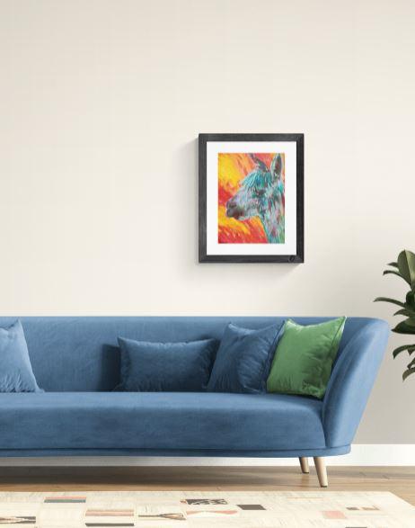 Colourful alpaca acrylic painting