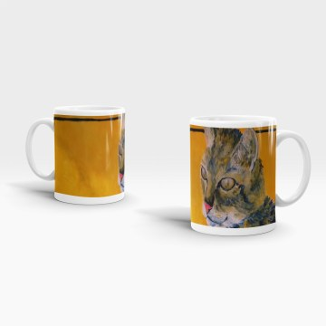 Golden orange tabby cat ceramic mug