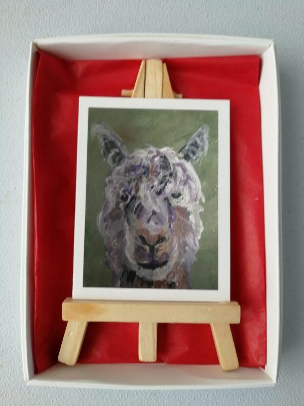 Alpaca ACEO art, green animal ACEO, ACEO animal art, ACEO alpaca printwhite grey purple alpaca ACEO