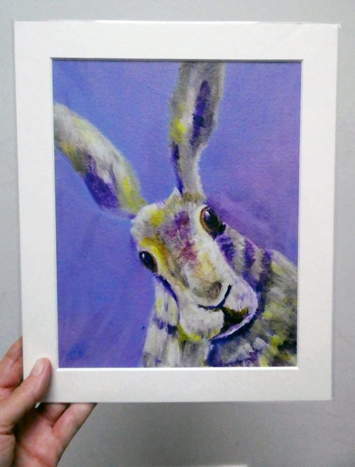 purple hare giclee print, fine art rabbit print, purple interior design, wildlife home decor