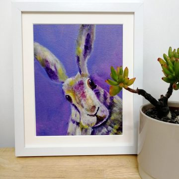 Purple hare print for your bedroom decor