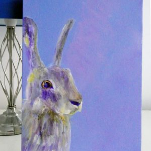 wild hare painting, purple animal artwork on box canvas, British wildlife painting, purple home decor