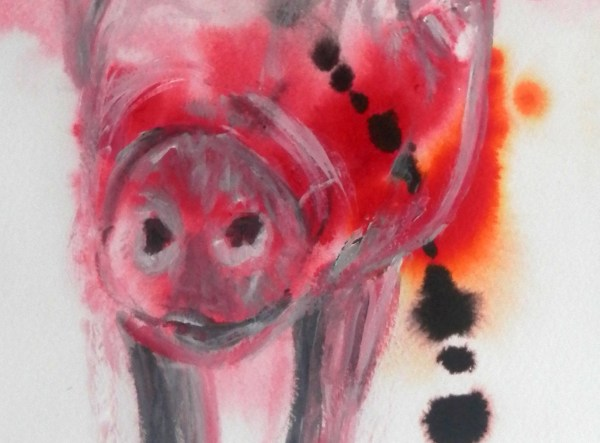 red pig painting, red abstract pig art, red home decor, farm animal wall art