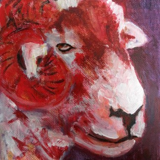 Red sheep decor, red sheep painting, farm animal art, farmyard decor