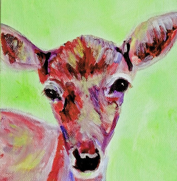 Green and red acrylic deer painting, red doe art, deer painting, doe painting