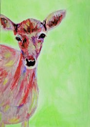 Green and red acrylic Doe painting, red and green wall decor, British wildlife art, deer decor, green and red acrylic deer painting