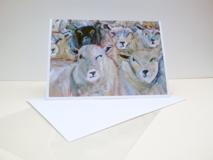 Flock of sheep card, black sheep, counting sheep blank card
